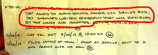 Judges notes closeup w red