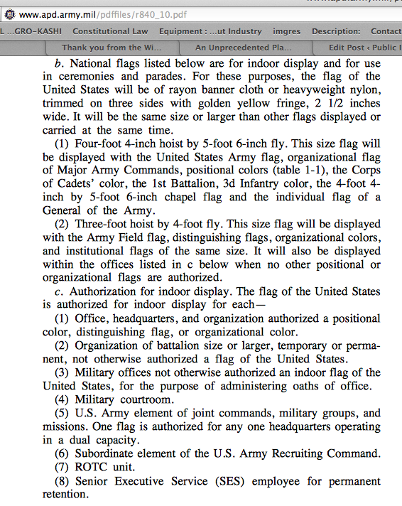 military regulations courtroom flag