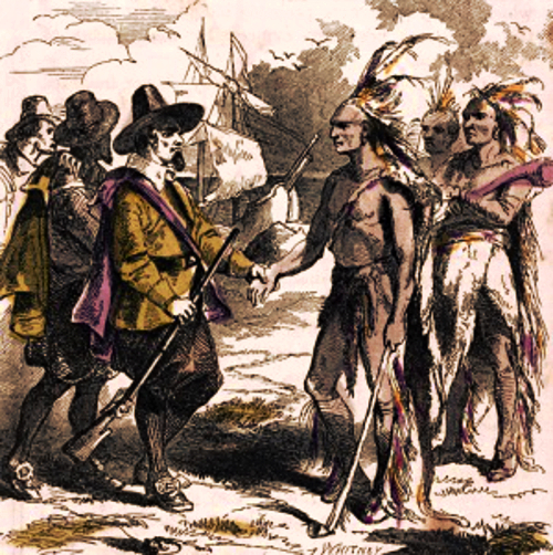 Wampanoag Peace Treaty painting